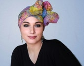 103-23 Carnival Floral Turban Hat, Alopecia Scarf, Chemo Hat, Blue, Purple Yellow, Pink, Hat & Scarf Set