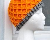 Crochet Lattice Hat - Orange with Grey