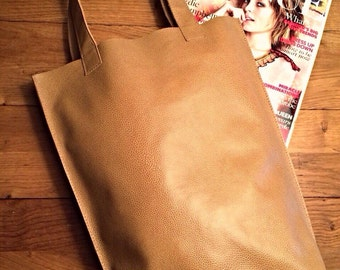 Brown Pattern Leather Tote Bag