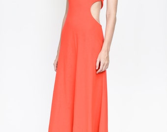 70s red sexy maxi dress by Climax