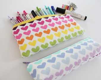 pencil pouch -- rainbow hearts
