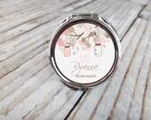 Personalized Bridesmaids Gifts - Personalized Compact Mirror - Rose Quartz Mason Jars - Bridesmaids Gifts