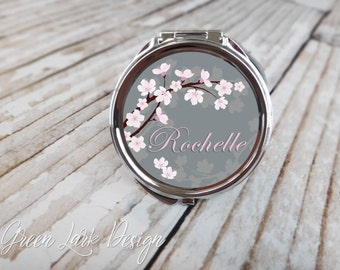 Personalized Bridesmaid Compact Mirror - Cherry Blossom Wedding