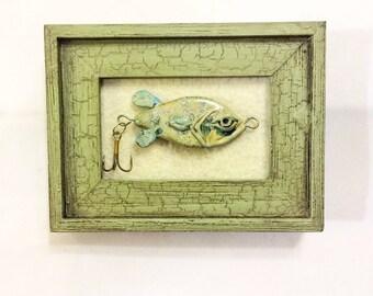 mini framed fishing lure art hand blown glass