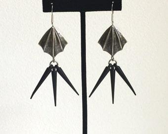 Bat Wing Earrings // Bat Earrings, Spike Earrings, Halloween Earrings, Bat Wings, Halloween Jewelry, Morticia Earrings, Spooky Earrings