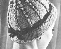 ... hat popcorn cable toque 1960 style retro chic cloche worsted weight