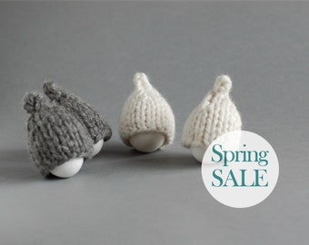 SALE 10% OFF Grey and milky white egg hats in rustic style. Set of 4