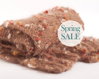 SALE 20% OFF Oversized knit scarf. Extra long and chunky knit scarf in cinnamon brown with colorful spots.