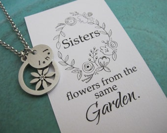 For Her-Sister Gift-Gift Sister-Sister's initials Necklace-Sisters Jewelry-Sister Birthday Gift-Flower Necklace-Personalized Sister Necklace