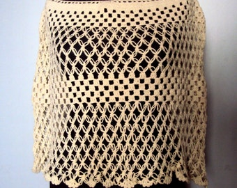 CLEARANCE SALE! Mesh Capelet Crochet Poncho Cape Festival Poncho Beachwear Women's Clothing Fashion Accessories Gift For Her   Free Shipment