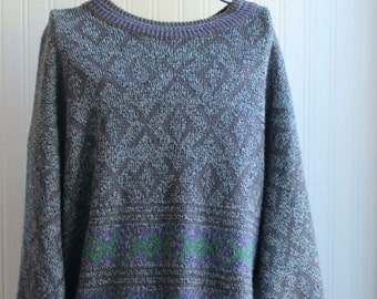 Vintage 80's Sweater for Men, Mans Retro Pull Over, Abstract Tribal Pattern,  McGregor Maximum, Size 2XL, Vintage Fashion, Gray Purple