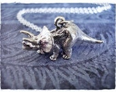 Silver Triceratops Necklace - Sterling Silver Triceratops Charm on a Delicate Sterling Silver Cable Chain or Charm Only