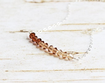 Shades of Topaz Crystal Ombre Bead Bar Necklace on Sterling Silver Chain (Swarovski Elements)