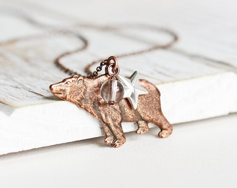 Woodland Bear Necklace - Bear Charm Necklace with Antiqued Copper Plated Chain, Clear Quartz, Silver Star, Rustic Jewelry, Animal Jewelry