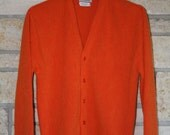 Vintage Mens Cardigan Sweater • Citrus Orange Cardigan Sweater • Golf Sweater • Grandpa Sweater • Squire of California • Medium