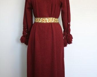 Vintage 1970s Maroon Kaftan Maxi Dress • Bohemien Kaftan Dress • Knit Macrame Dress • Hippie Maxi Dress • Macrame Sleeves Trim
