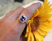 3.15cts Amethyst engagement ring, solid sterling silver cocktail ring, halo ring, birthstone ring, amethyst silver ring