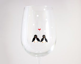 Penguins in Love - Hand Painted Wine Glass