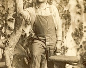 Handsome RANCH HAND With Scruffy Beard and Overalls Photo Postcard 1911