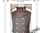 Steampunk Double Breasted Waistcoat  Vest Paper Sewing Pattern . Sweeney Todd style 38 - to 44 chest (SWTD)
