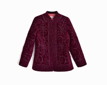 Vintage Embroidered Velvet Jacket in Burgundy Silver Metallic / 60s Velvet Jacket