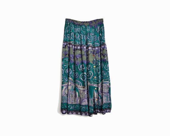 Vintage 90s Hippie Maxi Skirt in Teal Swirl - one size