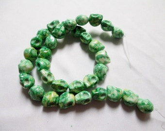 SKULL BEADS - 33 Skulls Ceramic Bead GREEN Marbled Tribal Goth Gothic Halloween 10mm x 12mm