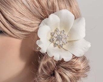 Bridal Hair Flower / Anemone Flower Pin Hair Clip Anemone/ corsage, Real Touch rhinestone crystals, pearls, white ivory