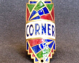 Vintage Corner bike badge collector enamel plate.