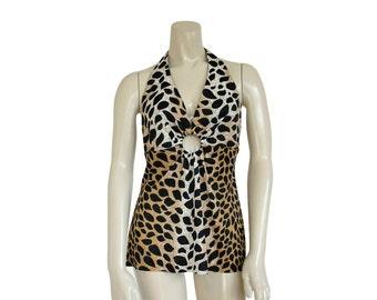 1960s Top • Leopard Blouse VLV • Animal Print Shirt • Pin Up • M / L