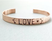 LOVE Copper Cuff Bracelet with Hearts.  Hand Stamped Jewelry. Gifts for loved Ones.