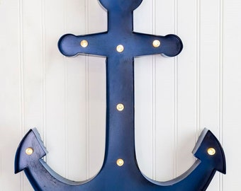 ANCHOR MARQUEE Light Led Light Up Lighted Blue Nautical Decor Wedding Decorations Birthday Party Beach House Ocean Summer Ship Boat Theme