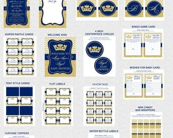 Prince Baby Shower Printables, Printable Prince Baby Shower Decorations, Royal Blue, Gold Glitter, Invitation Included, Printable PDFs
