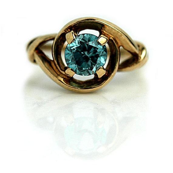vintage blue zircon ring unique 1940 s blue zircon