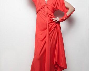 red maxi dress hostess vintage 70s empire waist rhinestone split sleeves slinky M MEDIUM (SU-1)