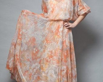 pleated maxi dress vintage 70s boho pleat orange floral tangerine batwing sheer S