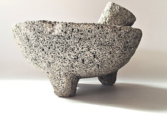Molcajete Volcanic Stone Mortar & Pestle Lava Rock Food Grinder Rustic Kitchen Tool Decorative Stone Bowl Wicca Grinding Bowl