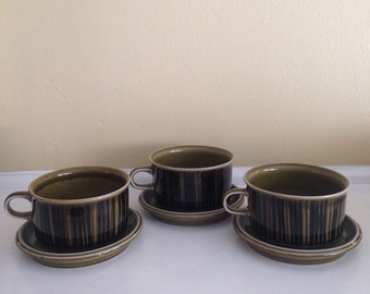 Arabia Finland  Kosmos Coffee Cups and Saucers -Set of Three