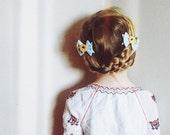 Felt Bow Hair Clip Set, Felt Hair Clip, Hair Flowers, Blue Bows, giddyupandgrow
