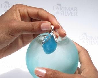 Larimarandsilver pendant, Fruit of the Secret Wisdom - deep blue Larimar stone, volcanic blue, sapphire blue almond handmade Larimar pendant