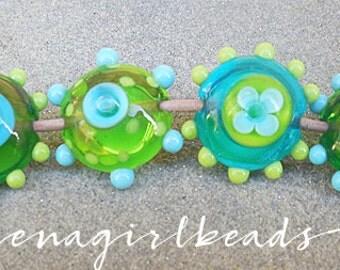 Midori Lentils Lampwork Beads
