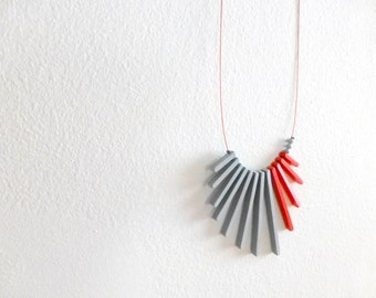 red grey minimalist necklace, geometric concept contemporary jewelry