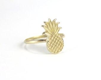 Pineapple Ring, Gold Pineapple Ring, Gold Stacking ring, Midi Ring, Golden pineapple, boho rings, hawaii rings, aloha ring, tropical ring