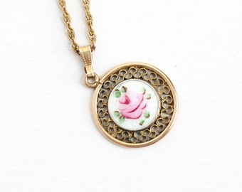 Sale - Vintage Guilloche Flower Pendant Necklace - Gold Filled Mid Century 1940s Pink White Rose Floral Charm Jewelry