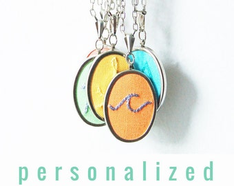 Modern Hand Embroidery. Personalized Jewelry. Colorful Initial Necklace. Initial Jewelry. Gifts for Teen Girls Under 50. Monogram Gifts...