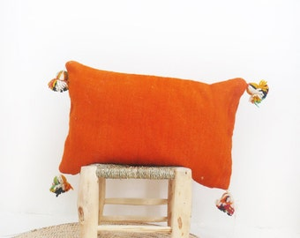 Moroccan POM POM Wool Pillow Cover - Orange