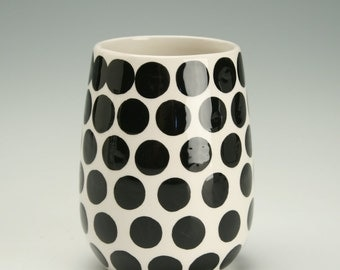 Dots Stemless Wine Vessel Glass Juice Cup Hand Painted Black and White