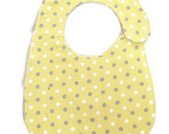 Yellow  polka dot  Flannel bib