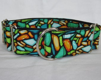 Art Glass Martingale Dog Collar - 1.5 or 2 Inch - colorful teal orange mosaic masterpiece blue