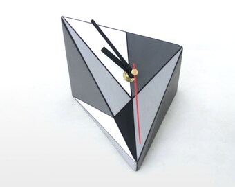 Desk Clock, Wood clock, Table Clock, Black & White, Geometric, Grey Clock, Triangle, Unique gift, gift for Mother, Spring decor
